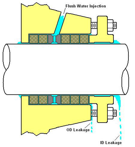 Pump packing leakage paths