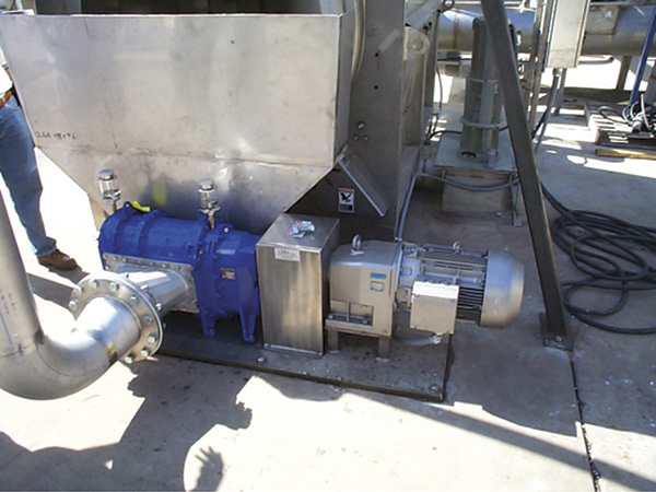 An inline assembly rotary lobe pump capable of 1,760 gallons per minute and up to 116 psi