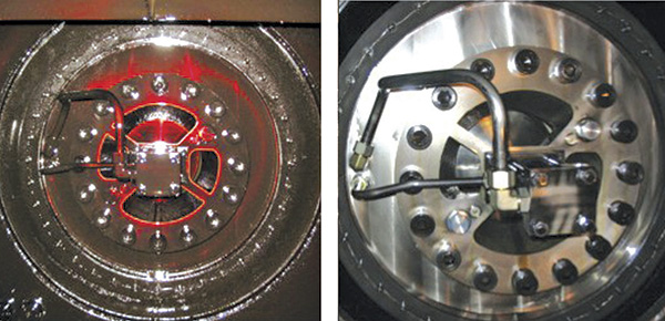 Injection molder main ramp pressure plate, before and after test and treatment