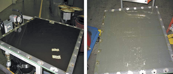 Injection molder tank hatch door, before and after test and treatment