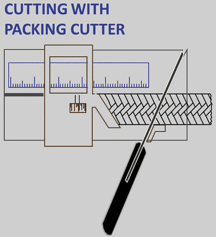 Figure 3. Cutting with packing cutter tool