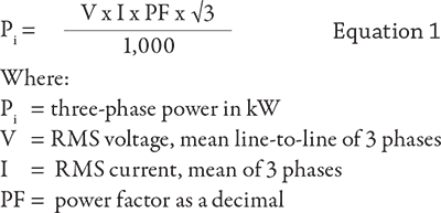 ... electricians using hand-held instruments or determined from the motor characteristic curve (power factor). With these three parameters, the three- phase ...