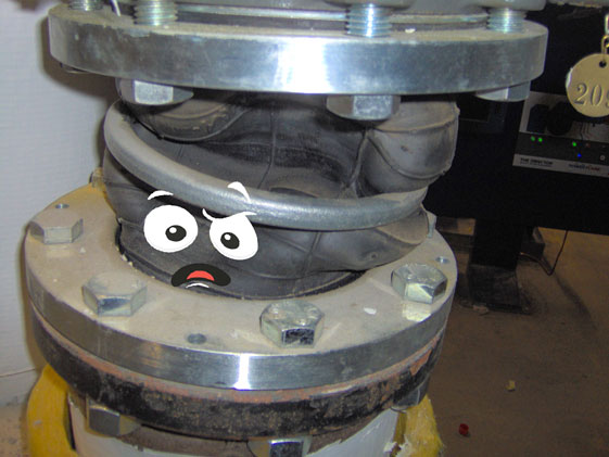 Joint installed between two misaligned flanges