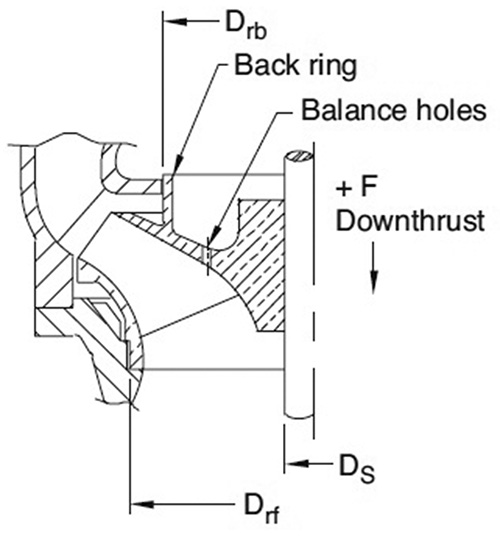 Enclosed impeller with back ring and balance holes