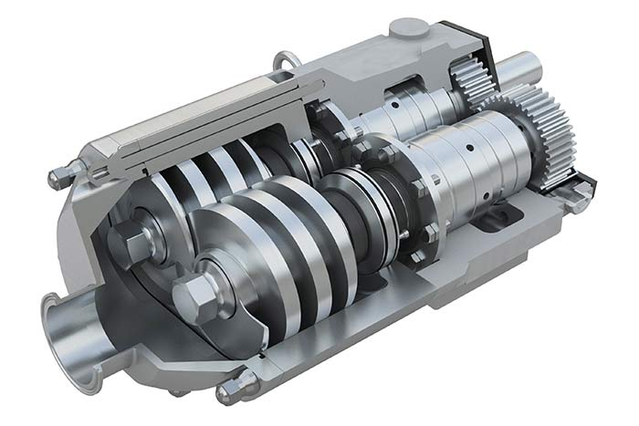 Twin screw pump used in applications with cheese and deaeration vessel