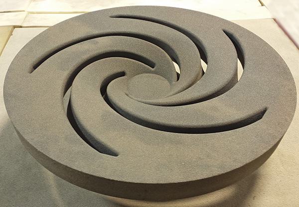 26-inch diameter 3-D printed sand core impeller with five veins, the drag view shown