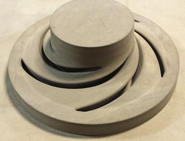 26-inch diameter 3-D printed sand core impeller with five veins, the cope view shown