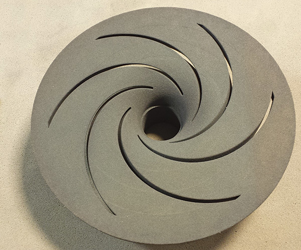 28-inch diameter 3-D printed sand core impeller with six veins, the drag view shown