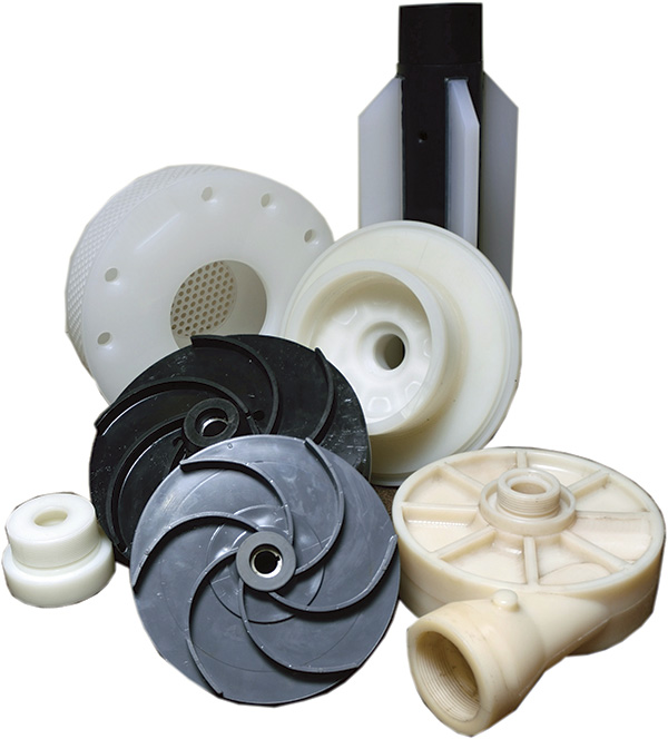 Image 1. Assorted thermoplastic pump components made of PVC, CPVC, PP, PVDF and ECTFE ((Images and graphics courtesy of Vanton Pump and Equipment Corp.)