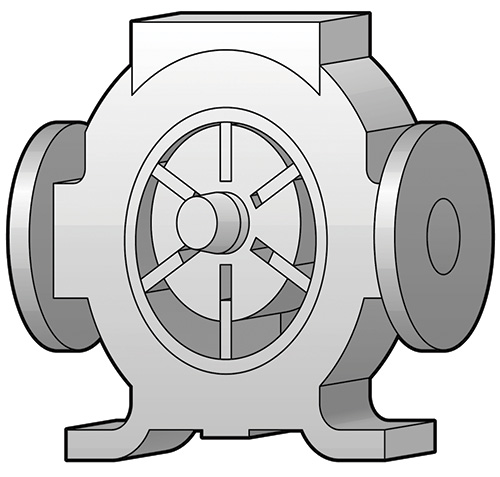 Figure 2. Centrifugal pump impeller utilizing PPS with carbon fiber and PTFE for maximum strength and wear resistance