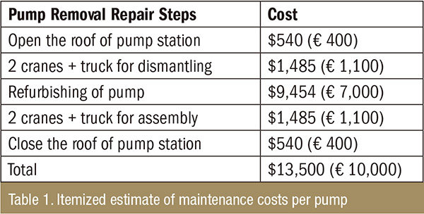 Itemized estimate of maintenance costs per pump