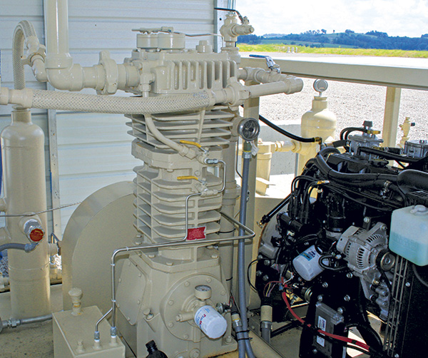 A reciprocating compressor in an oilfield application