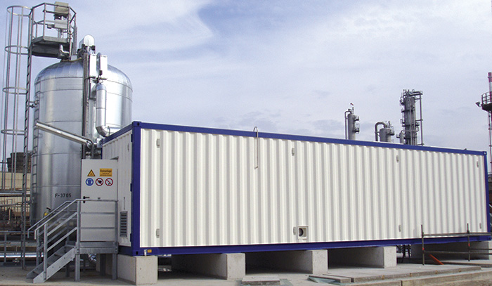 Ozone container installation and reaction tank at Bayeroil