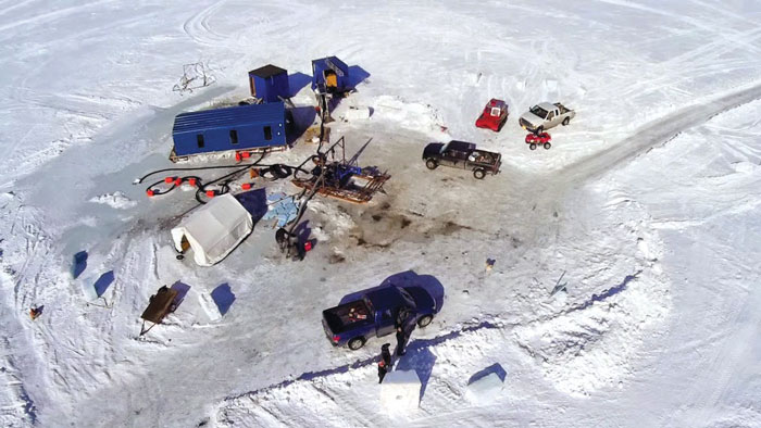 Image 2. An aerial view shows the gold-dredging operation in Alaska for the Discovery Channel program.