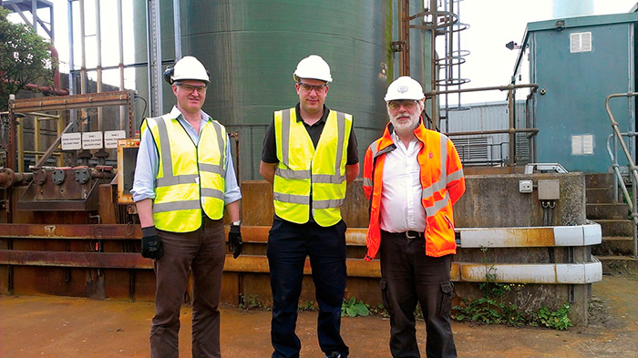 Image 1. Ben Saunders and Wayne Daysh of WES Ltd., a chemical dosing solutions provider, visit the Maple Lodge Sewerage Treatment Works with Thames Water operator Pete Thomas.