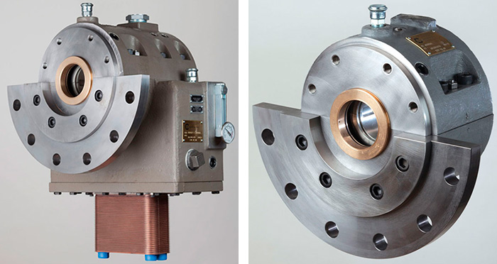 Images 1 (left) & 2 (right). Image 1 shows a non-drive end combined thrust and journal bearing assembly, while Image 2 shows a drive end journal bearing.