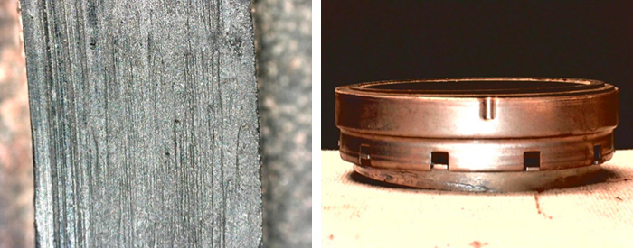 Groove close up and Brass mating ring