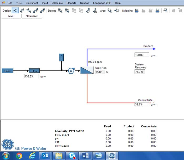 Sample process flow design from the process design tool