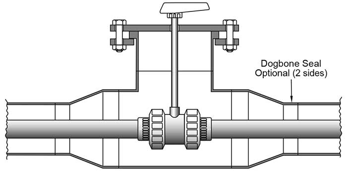 Double-containment ball valve with stem extension