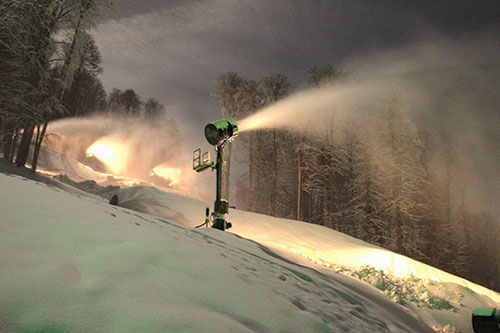 Snowmaking machine used at night the during Sochi Olympics