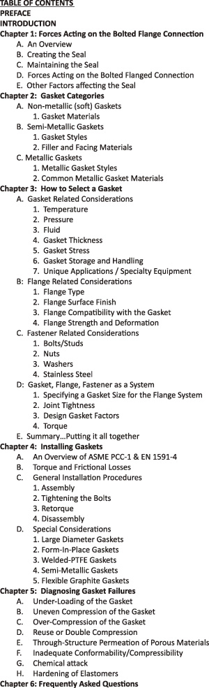 Figure 1. The Gasket Handbook Table of Contents (Graphics courtesy of FSA)