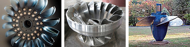Examples of Pelton turbine, Francis turbine and Kaplan turbine