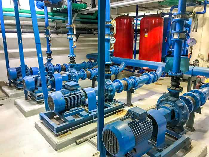 A shopping mall installed four VFDs for each pump, giving more control over how much water is pumped.