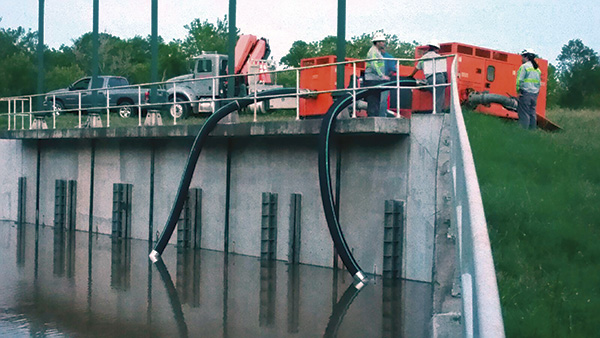 Image 2. 12-inch pumps were deployed to San Antonio and Houston and then in North Texas to fight a series of different storms. (Courtesy of Xylem)
