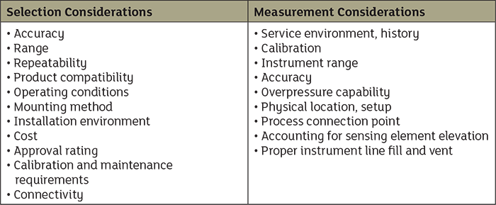 Table 2. Important selection and measurement considerations