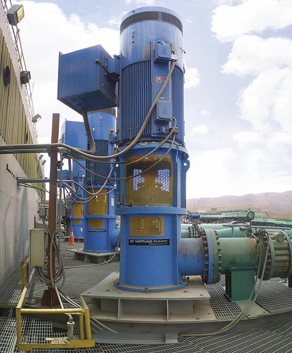 Vertical turbine pumps in the Andes Mountains, each with a 3,100-m3/hcapacity