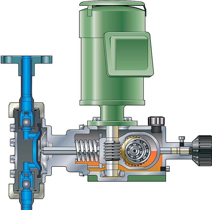 Advances in metering pumps meet specific application challenges cross section of mechanical metering pump wet end ccuart Image collections