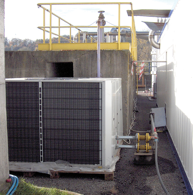 Image 2. Ozone container and chiller with concrete aeration tank and pipe.