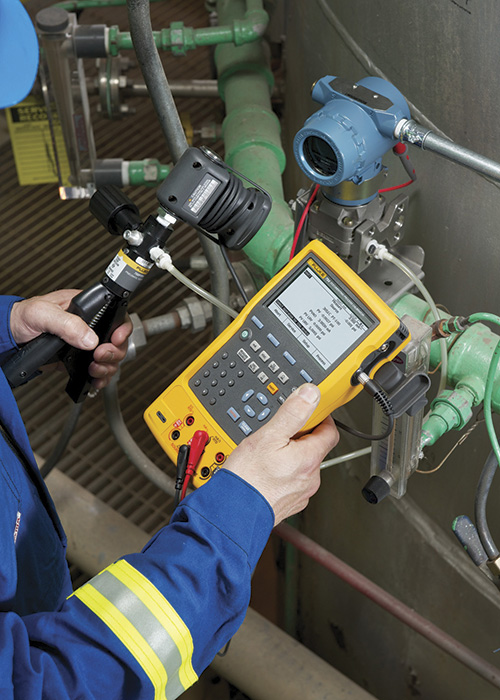 Image 2. A multifunction process calibrator and a portable pressure pump are critical when calibrating pump sensors.