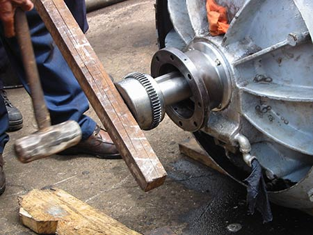 Installing a bearing with brute force
