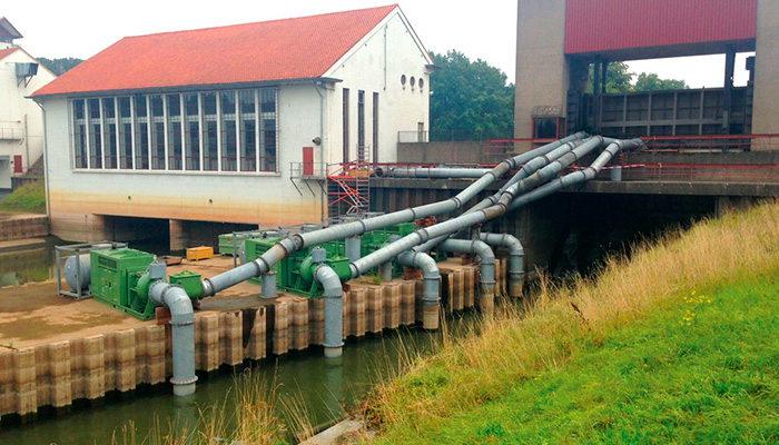 The ultra-high-flow pump sets with a total flow up to 25,000 cubic meters an hour