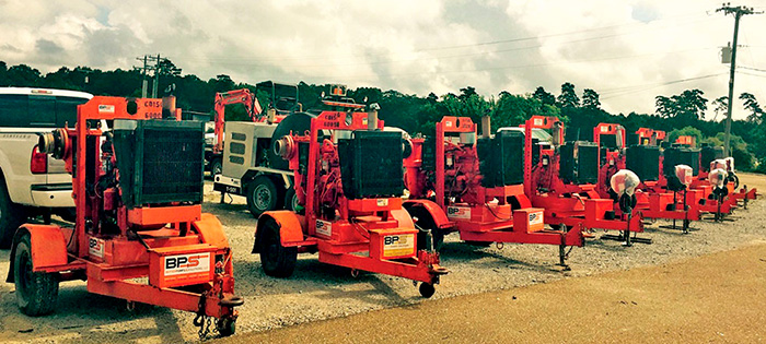 Godwin pumps are gathered and ready to be installed at flooded municipal and industrial sites across Louisiana