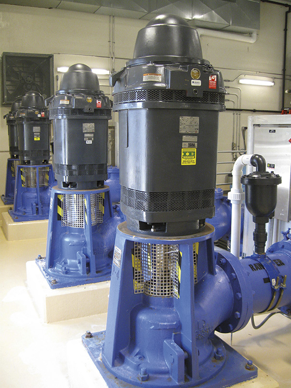 Vertical, hollow-shaft pump motors