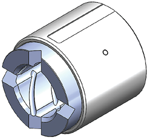 Ceramic matrix composite bearing and pinned steel carrier assembly