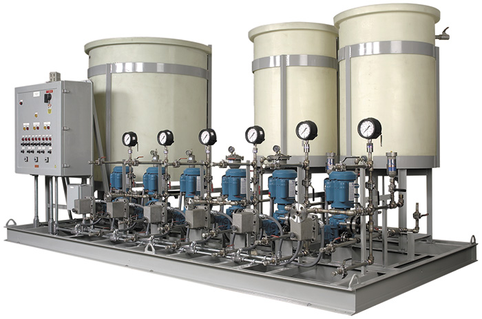 Image 1. While power plants use thousands of gallons of water per day when generating electricity, operations are only completed successfully when precise doses of ferric sulfate and sulfuric acid are injected into the water-purification system. Hydraulically actuated diaphragm metering pumps can help ensure that those dosage rates are consistently and reliably met. (Courtesy of Neptune Chemical Pump, part of PSG)