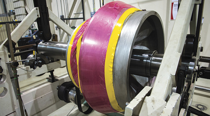 the refurbished impeller is in its final balance operation