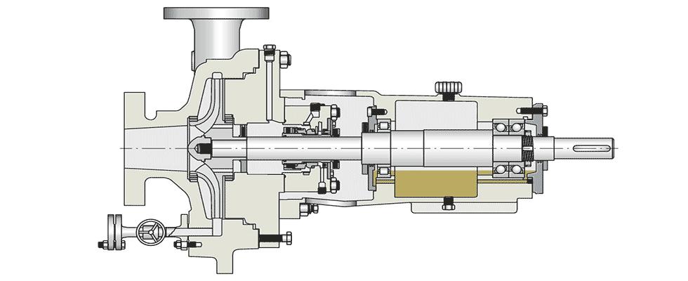 Typical bearing arrangement inside centrifugal pump