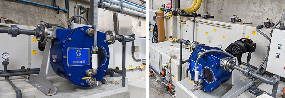 These peristaltic pumps are back washing filters with sodium hypochlorite to prevent algae growth in water holding tanks
