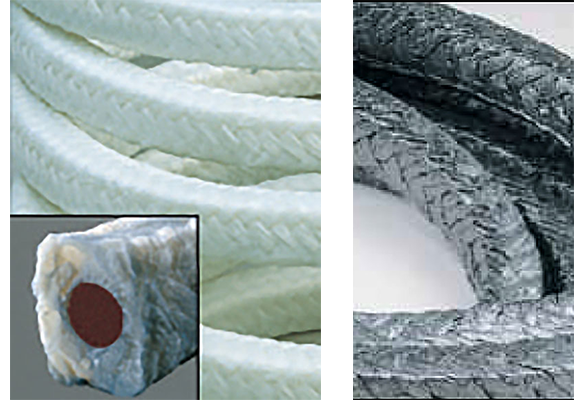 Interbraid rubber core packing and square braid packing
