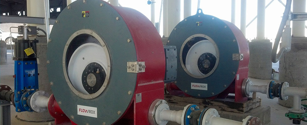 Two 3-in (80mm) peristaltic pumps on thickener underflow pumping