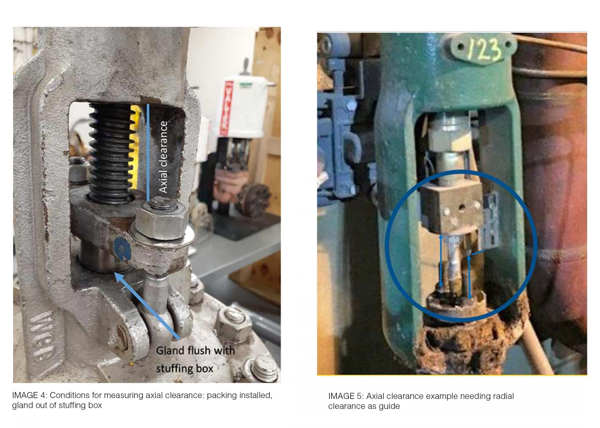 IMAGE 4: Conditions for measuring axial clearance: packing installed, gland out of stuffing box and IMAGE 5: Axial clearance example needing radial clearance as guide