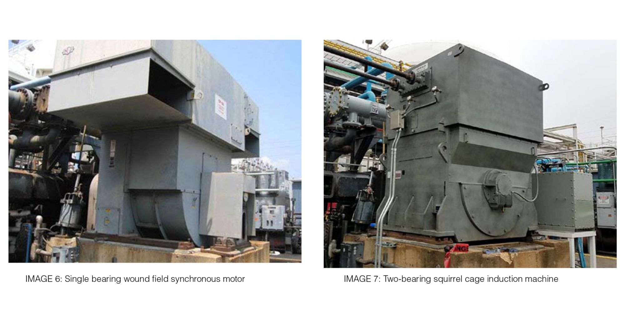 IMAGE 6: Single bearing wound field  synchronous motor and IMAGE 7: Two-bearing squirrel cage induction machine