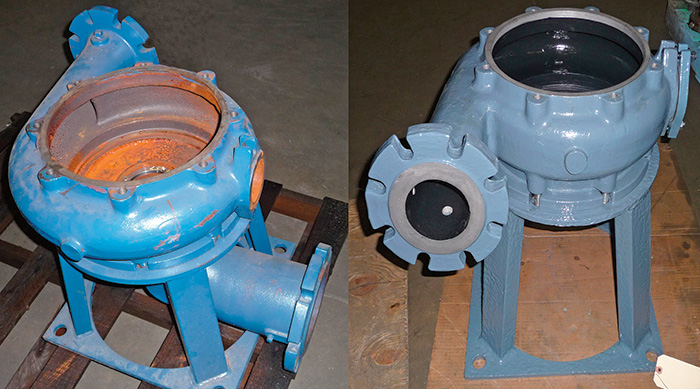 The pumps before (left) and after (right) the repairs