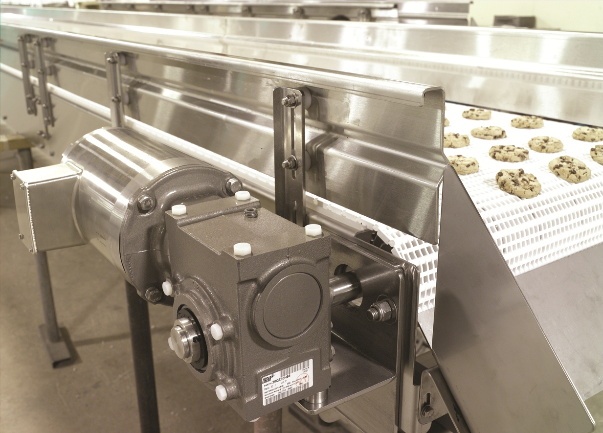 Stainless motor driving a conveyor for cookie production