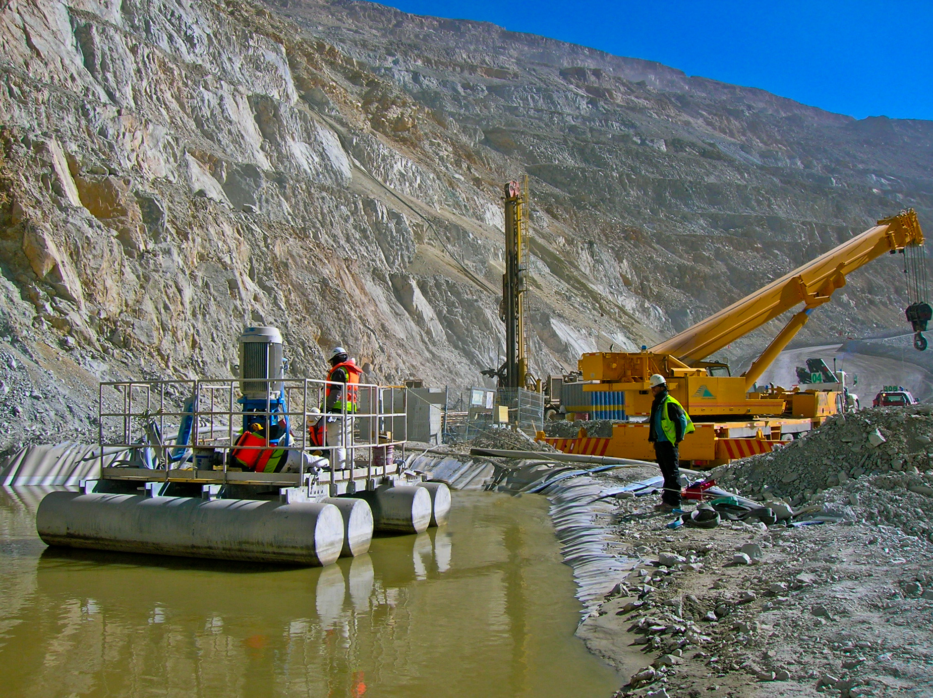 A dewatering pumping system at work in an open pit mine in northern Chile