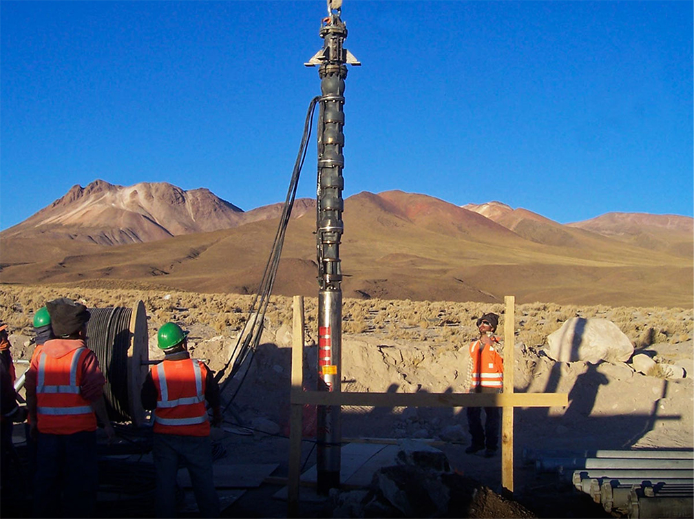 A deep-well pump installation of a multistage submersible pump in the Andes